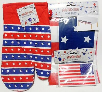 Set of Tablecloth Flag Clings and BBQ Mitt - USA - America - 4th of July