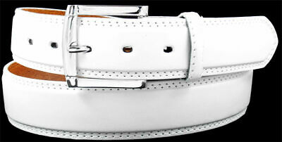 MEN WHITE LEATHER STITCHED BELT with FREE REMOVABLE BUCKLE - S M L XL