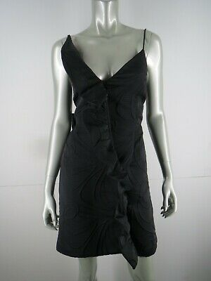 Milly Dress Cocktail Party Mini Size 2 XS Black Textured Ruffle Sheath Evening