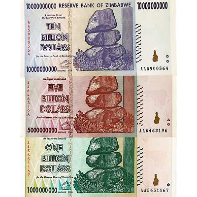 Zimbabwe 1 5 and 10 Billion Dollar Bills Banknotes Paper Money World Currency