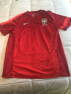 NIKE DRI-FIT BRAZIL RED CBF WORLD CUP TRAINING SOCCER JERSEY MENS L