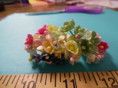 TINY OLD FASHIONED VELVET FLOCKED FLOWERSMULTI COLORS40MILLINERY-JULY LOT