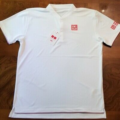 BNWT UNIQLO Roger Federer Men DRY-EX Wimbledon 2018 Polo Shirt White Medium M