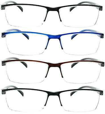 4 Pack Reading Glasses Readers Men Women Square Frame Spring Hinge