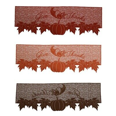 Maple Leaf Pumpkin Fireplace Scarf Thanksgiving Lace Mantel Cover Home Decor