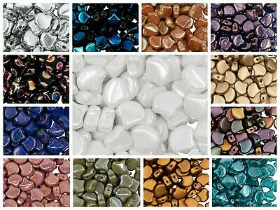 CHOOSE COLOR 30pcs Ginko Beads 7-5x7-5mm 2 Holes Czech Pressed Glass