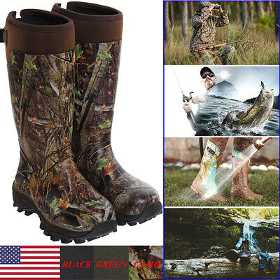 HISEA Mens Hunting Work Boots Waterproof - Insulated Rubber Neoprene Rain Boots