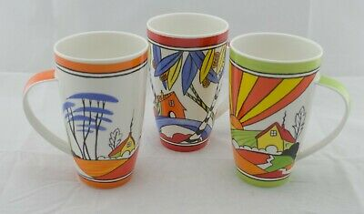 Clarice Cliff Bizarre Ware Tall Coffee Mug 3 piece Set - Made In England- Dunoon