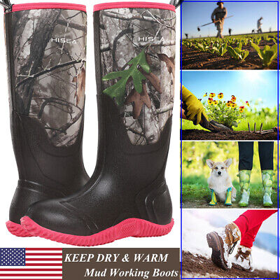 HISEA Womens BREATHABLE Rubber Boots Waterproof Snow - Rain Muck Hunting Boots