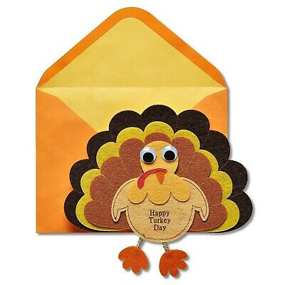 Papyrus Greetings Thanksgiving Day Card Felt Turkey with Googly Eyes-Cute