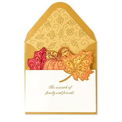 Papyrus Greetings Thanksgiving Day Card Die-cut Autumn Leaves Accordian Style