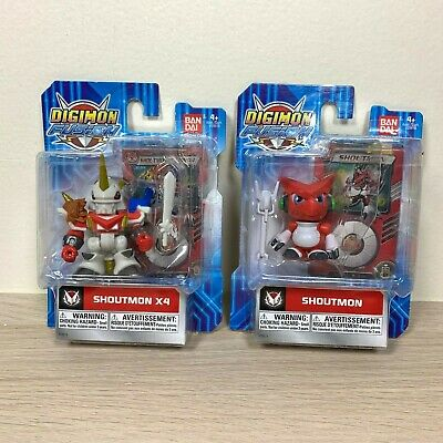 Lot of 2x Bandai Digimon Fusion Mini Action Figures Shoutmon and Shoutmon X4
