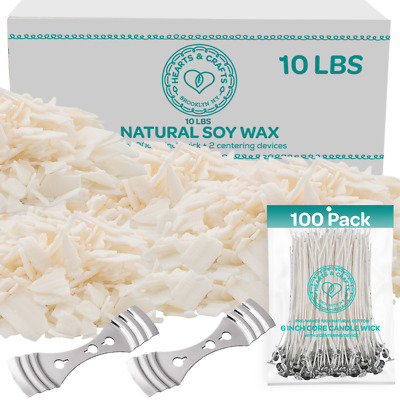 100 Soy Wax Flakes 10LB - All Natural Candle Making Set w Wicks - Wick Holder