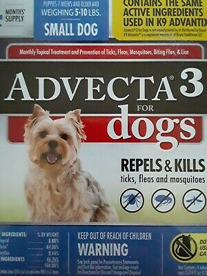 Advecta 3 for Small Dogs  5- 10 lbs -  4 Month  - NEW