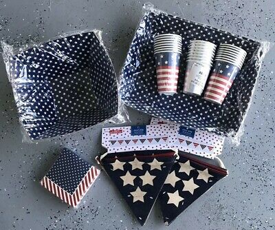 Fourth of July Party USA Flag Patriotic Serving Decor Red White Blue America New
