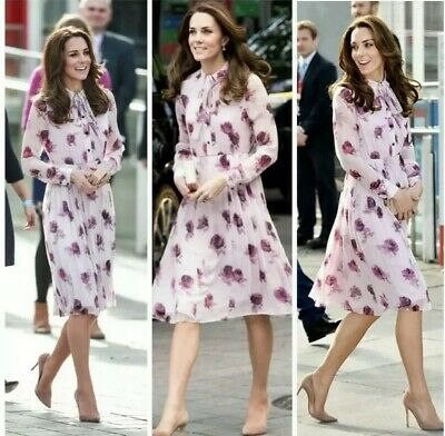 Kate Spade Encore Rose 100 Silk Chiffon Dress As Seen On Kate Middleton Sz 4