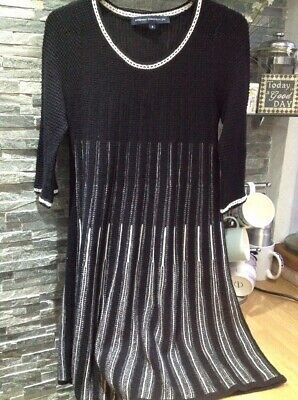 French Connection Black - White Knit Flared Short Dress 8 So Kate Middleton