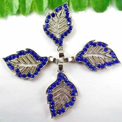 P51792 Blue Carved Alloy Leaves Pendant Bead 45253mm