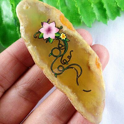 D2-3032 Freeform Section Yellow Onyx Agate Pendant Bead 57276mm