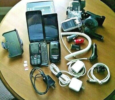 Cell Phones - Accessories Lot - 4 Pre-Owned Phones Chargers Case New Avantree
