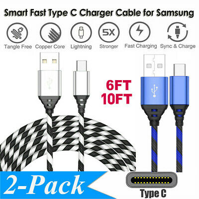2-Pack Type C Charger Cable USB-C Fast Charging Cord For Samsung Galaxy A10e A20