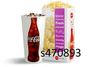 AMC Large Popcorn and Large Fountain Drink expires 6302020 fast e-delivery