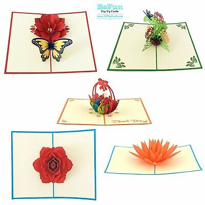 Love Pop Up Card 5 Pcs Flowers Birthday Mother Day Gift Card Congratulation