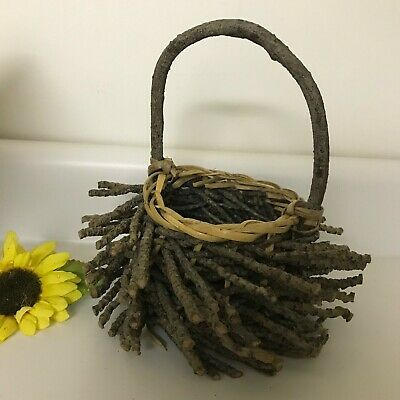 Woven Twig Wooden Basket Farmhouse Decorative Home Decor Round With Handle Nest