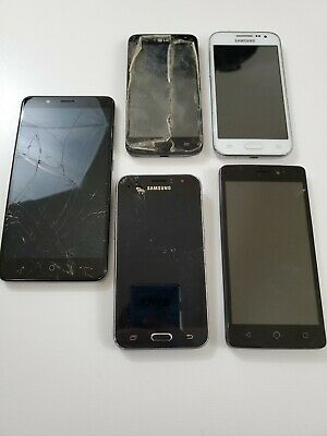 Lot Of 5 Cell Phones Samsungs LG ZTE - NUU For Parts Only As-Is K1