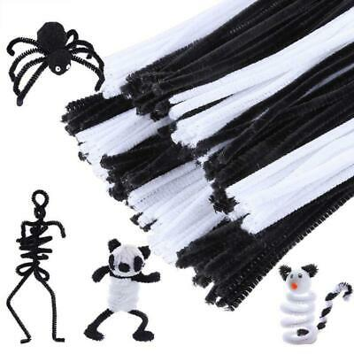 200 Pieces Black and White Pipe Cleaners Chenille Stem 6 mm x 12 Inch Safe  F4F5