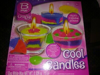 B Me Crafty Cool Candles - Create 3 Rainbow Candle Designs Arts and Crafts NEW