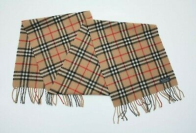 Authentic Burberrys Vintage Nova Check Wool Scarf Made In England