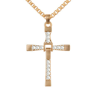 2×Men Women Cross Pendant Necklace Stainless Steel Unisexs Chain Crucifix Gift