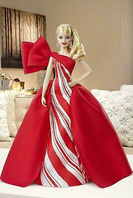 2019 Holiday Barbie Doll Mattel 11-5-inch Blonde Curls Red White Gown New In Box