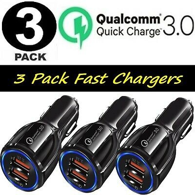 3 Pack 2 USB Port Fast Car Charger QC 3-0 for iPhone Samsung Android Cell Phone