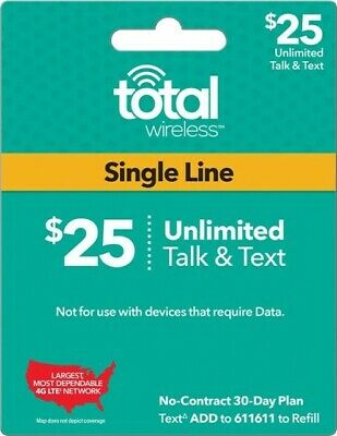 Total Wireless - 25Month Refill Pin -Unlimited Talk Text FAST RELOAD PHONE