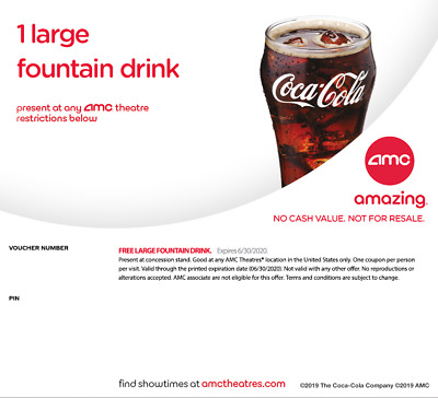 An AMC Large Fountain Drink Beverage expired 122020 Instant Delivery Email 24hr