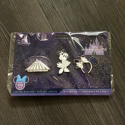 Minnie Mouse The Main Attraction Space Mountain Pin Set January 2020 LR In Hand