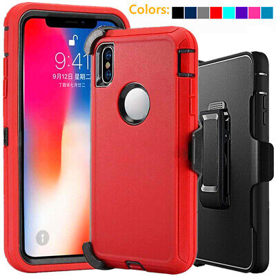 For Apple iPhone XS XR Max Shockproof Defender Case wBelt Clip fits Otterbox
