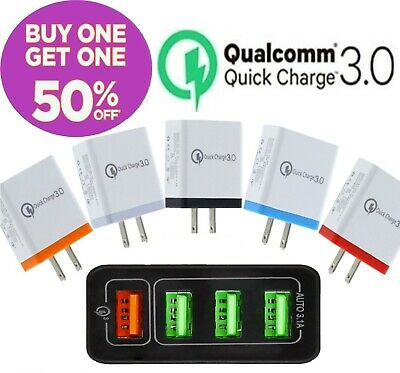 4 Port USB Home Wall Fast Charger Adapter for Samsung iPhone Android Cell Phone