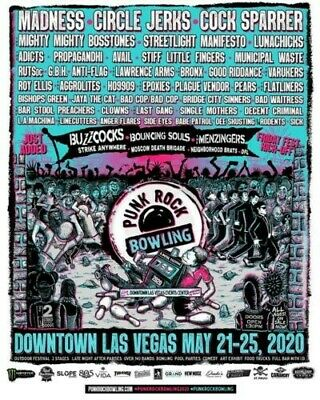 3 Saturday Tickets to Punk Rock Bowling 2020 in Las Vegas with CIRCLE JERKS