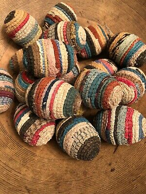 Primitive Hand Wrapped Vintage Rag Rug EGGS Farmhouse Style Decor EASTER