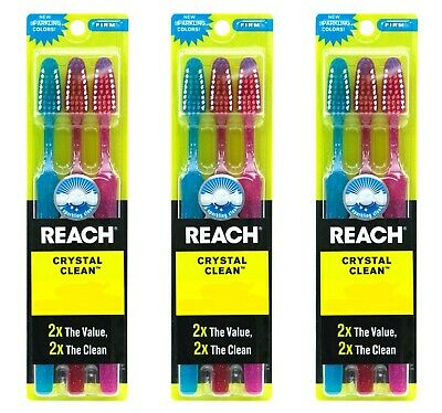 9 PACK Reach Toothbrush Extra Clean FIRM Bristles Hard - FREE SHIPPING