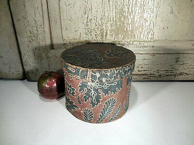 AAFA Early Wallpaper Covered Box Antique Primitive Bandbox Pasteboard Box
