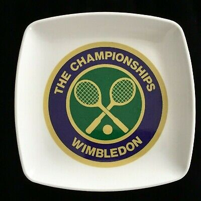 Vintage The Championships Wimbledon Tennis Trinket Dish Plate 5x5 Made in Italy
