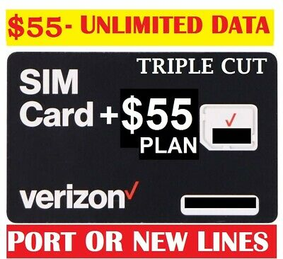Verizon Wireless Unlimited 4G LTE 55 Plan with Simcard - First Month Included