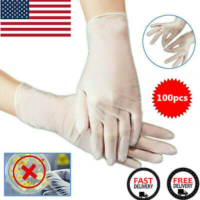 100pcs Transparent Elastic Gloves Latex Rubber Free Powder Anti Pollution Gloves