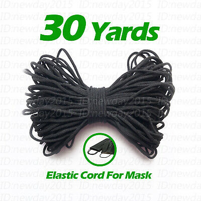Black 30 yards 3mm Round Elastic Band Cord Sewing Soft For Face Mask DIY