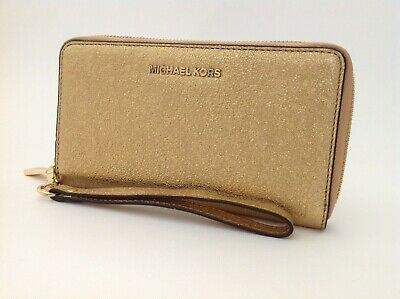 New Ladies Michael Kors Gold Leather Large Zipped Smartphone Wristlet Clutch