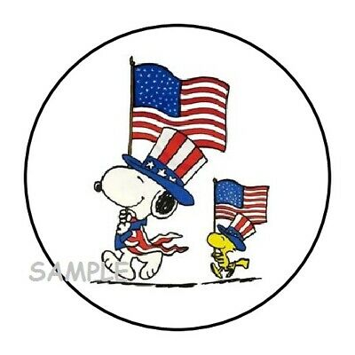 30 SNOOPY FOURTH OF JULY ENVELOPE SEALS LABELS STICKERS 1-5 ROUND 4th